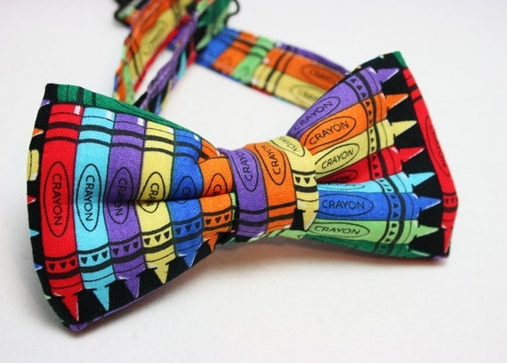 Bow tie - Crayon Print - Fits newborns through adults - Great For School