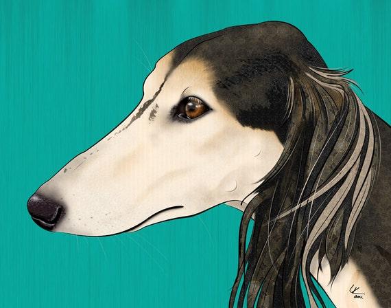 """Saluki 11x14"""" Pop Art Print, Dog Art"""