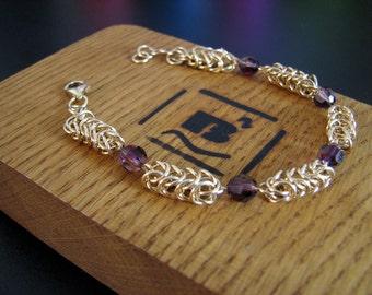 Gold  and Amethyst  crystal bracelet