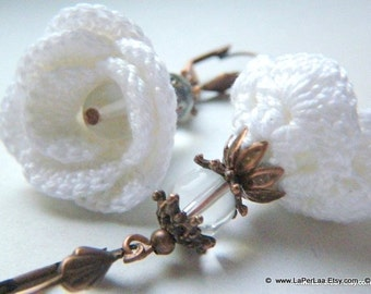 white rose blossom crochet earrings in white