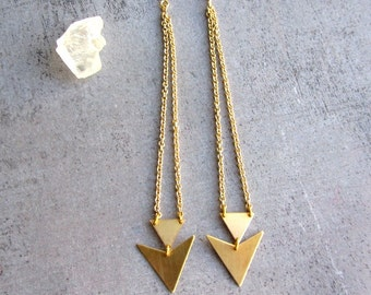 Triangle dangle gold brass long earrings, geometric jewelry, arrow, chevron,