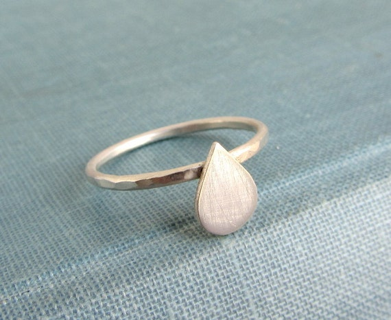 Simple sterling silver raindrop stacking ring