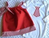 Set of 3 Twins Candy Cane Dress and Boys Tie Onesie Pillowcase Dress Infant Toddler Girls Boy Clothing FREE momogramming