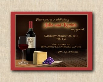 Wine and Cheese Invitation PRINTED INVITATIONS - Sold in packs of 10 includes envelope