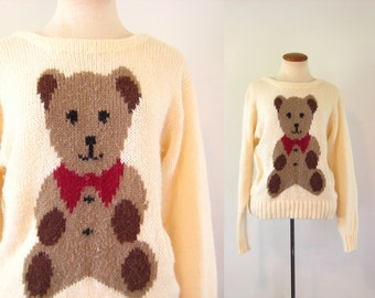 1980s Sweater Teddy Bear Pullover Kitsch Cream Knit Brown Novelty Hipster Extra Long Sleeves  Vintage 80s Small S Indie Retro