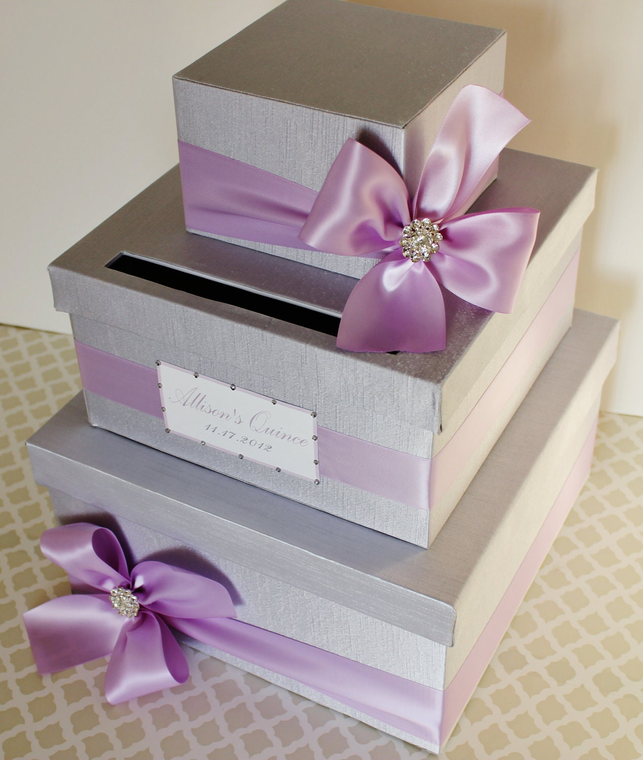 custom made wedding card box money holder lavender purple. Black Bedroom Furniture Sets. Home Design Ideas