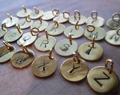 Reserved for Hannah, Personalized Letter Stamped Charm, Gold Plated Custom Initials Disc 12mm