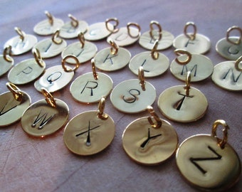 Personalized Letter Stamped Charm , Gold Plated Custom Initials Disc 12mm