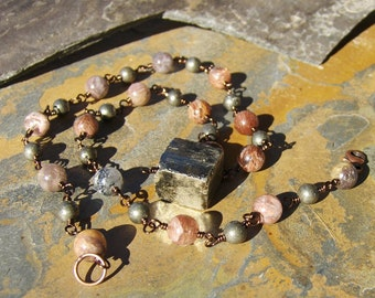 Rutilated Quartz & Pyrite Wire Wrapped Necklace