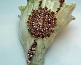 Copper Sunburst Glass and Crystal Necklace