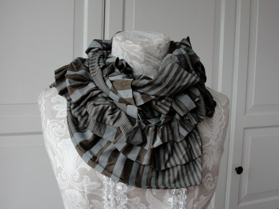 Slate grey/Chocolate brown STRIPE double ruffle TEXTURED scarf by FAIRYTALE13.