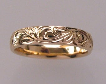Hand Engraved Vine and Leaf Wedding Anniversary Band in Rose Gold