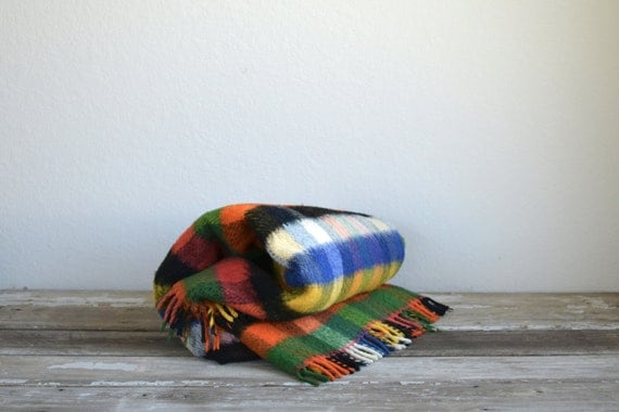 RESERVED for Angelica // old colorful checks wool blanket