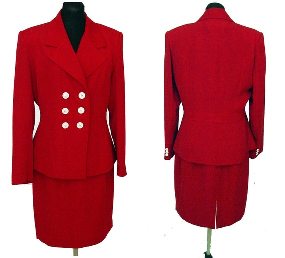 Vintage Halston suit, red suit, double breasted jacket, Size 12