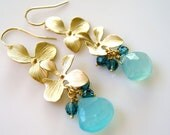 Double Gold Orchid Aqua Chalcedony Earrings- Aqua Chalcedony Flower Chandelier Earrings- Matte Gold Orchid Earrings- EG-OR2