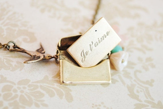 Love Letter Locket - Envelope Locket - Je t'aime - Paris - Sparrow - Cottage Chic - Romantic - Whimsical