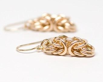 Byzantine Earrings.14K gold filled chainmaille earrings.
