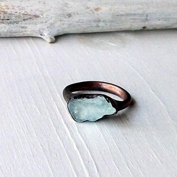 Copper Aquamarine Ring March Birthstone Pale Sky Blue Gemstone Artisan Handmade