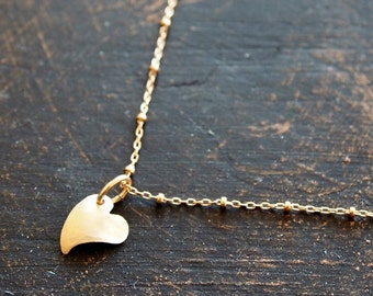 Gold Heart Charm Necklace, Heart Charm Necklace, Gold Filled Necklace