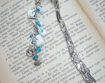 Dolphin with shells and beads - Tibetan Silver Beaded Bookmark
