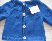 Child 100% Wool  Cardigan Sweater  Size 5  Knitted Royal Blue Mustard Yellow Purple Wooden Buttons