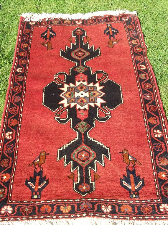 Lovely Orange Bakhtyari rug/kilim with bird motif from Afghanistan. Hand woven.