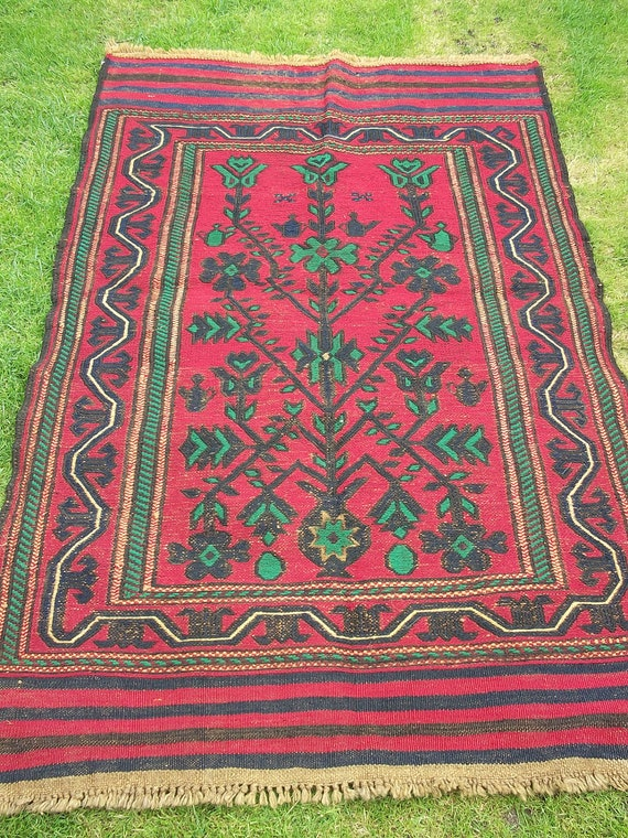 Nice Red/Green  Baluchi rug/kilim. Hand woven.