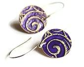 Violet Swirls Brass Disc Earrings