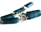 SALE Apatite Bracelet with Silver Circles