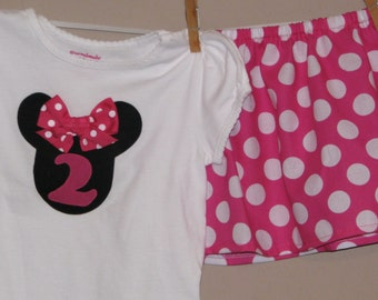 Custom Disney Minnie Mouse Inspired Baby Toddler Skirt Set- Pink White Polka Dots - Great for Disney Trips and Birthdays