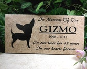 "Free Shipping- Chihuahua Grave Marker 12x6 - ""Gizmo"" design - Italian porcelain stone tile- Personalized Engraving"