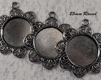 25mm Round - Antique Silver - Alloy Setting - 'Sunny II' - 3 pcs : sku 11.28.12.4 - T13