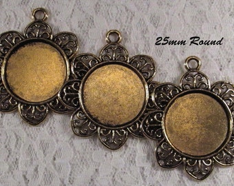 25mm Round - Antique Gold - Alloy Setting - 'Sunny II' - 3 pcs : sku 11.28.12.5 - T14