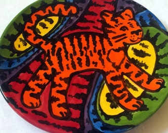 Psychedelic Tiger Ceramic Plate