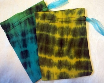 Teal and Yellow Tie-dye Gift Bags Set of 2