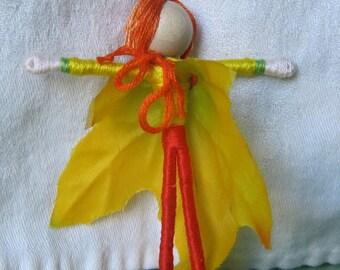Yellow Leaf Boy Doll, Golden Gerber Daisy Fairy, Acorn Boy, Waldorf Flower Fairy Doll, Elf dolls