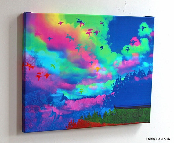 Colorful.Afternoon - 16X20  fine art gallery wrap canvas / psychedelic visonary  art