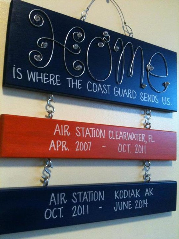 Home is Where the Coast Guard send us Sign with 2 regular duty station signs