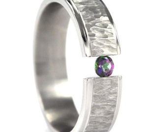 New 6 mm Titanium Tension Set Ring with a Tree-Bark Finish:  6HRRC-TBP-TENS-U.PIC