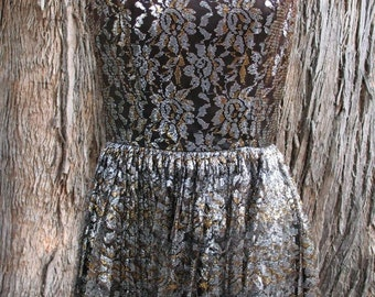 25% Off Sale-Vintage 1960's Chocolate Brown, Gold and Silver Lace Cocktail Mini Dress