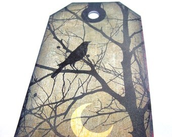 Gothic Tags -  Set of 8 -  Raven Tags - Night Scenes - Ravens Flying - Gloomy Buildings - Eerie Landscape - Gothic Ravens - Thank Yous
