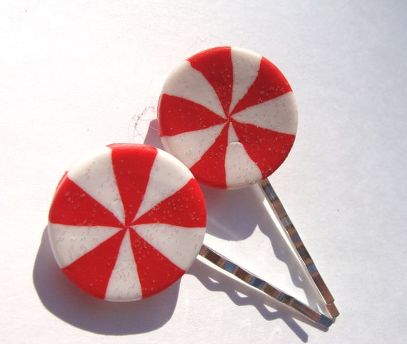 Peppermint Hair Clips Red And White Candy Bobby Pin Hair Accessories Christmas Holiday