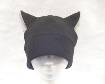 Black Cat Hat Mens Womens Cat Ear Beanie by Ningen Headwear