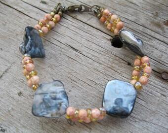 Denim Blue Abalone Shell and Peach Beaded Bracelet