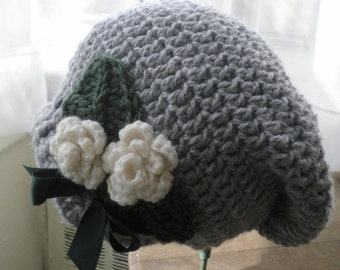 Crocheted Infant Slouchy Hat Beret Girl 6 18 mo Flannel Grey Art Nouveau Crochet Roses