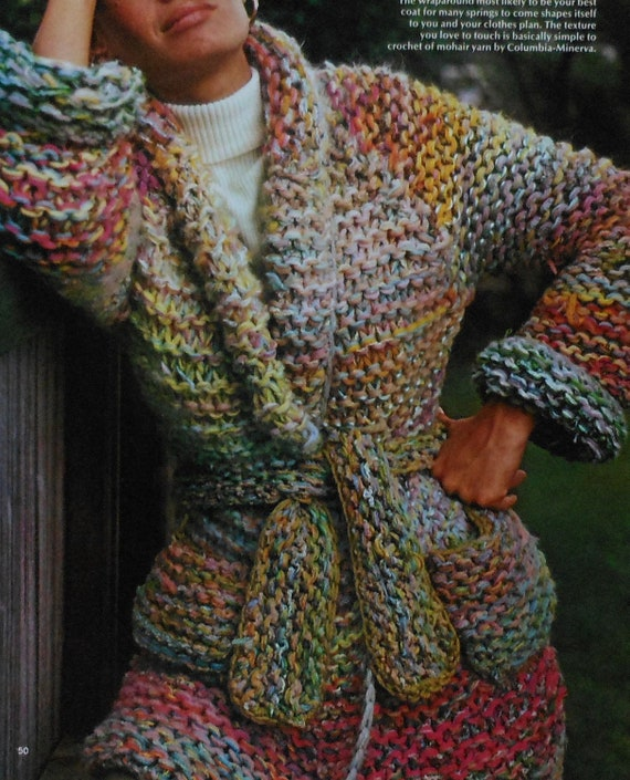 Retro Womens Bulky Jacket Coat Knitting Pattern