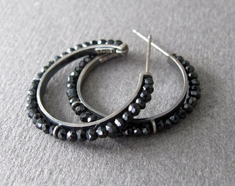 Black Spinel Luxe Hoop Earrings Sterling