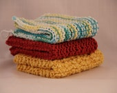 Hand Knitted Dish Cloths Custom Order 3 Pack in Your Color Choice