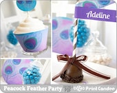 Peacock Feather Party Kit - Editable / Custimizable PDF - Printable DIY - Personal Use Only