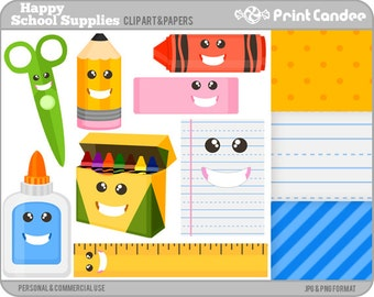 Happy School Supplies - Digital Clip Art - Personal and Commercial - back to school pencil crayons ruler glue lined paper